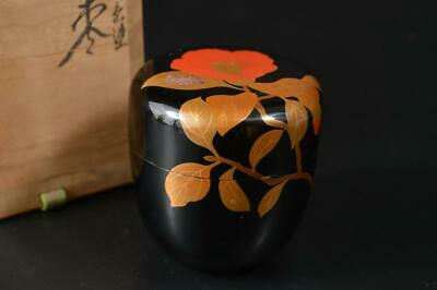 U1706: Japanese XF Wooden Lacquer ware TEA CADDY Natsume Container w/signed box