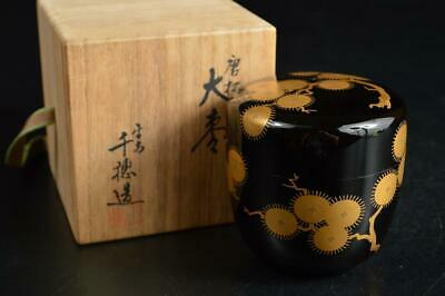 U1538: Japanese XF Wooden Lacquer ware TEA CADDY Natsume Container w/signed box