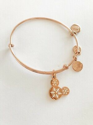Alex and Ani Disney Snowflake Bracelet Rose-Gold Mickey Head Ears Bangle!