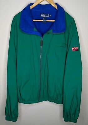 Vintage 90s Polo Sport Ralph Lauren Hi Tech Fleece Zip Green Jacket Mens Sz XXL