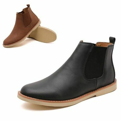 Mens Chelsea Faux Leather Boots Military Ankle Waterproof Casual Slip On Shoes
