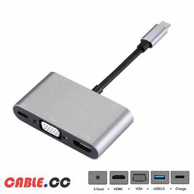 CableCC Type C to HDMI & VGA & USB3.0 OTG & Female Charger & 3.5mm Audio Adapter