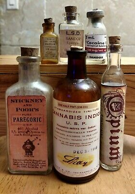 6 Old Medicine Bottles Hand Crafted,Opium,Heroin,Cannabis,LSD,Cocaine,Paregoric
