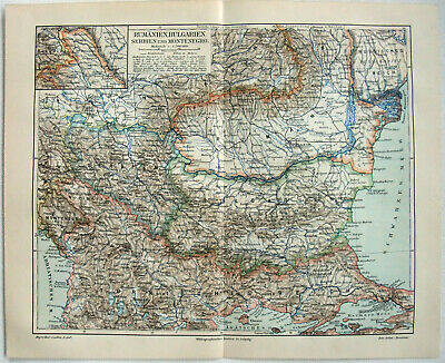 Original 1909 German Map of Bulgaria Romania & Serbia by Meyers. Antique