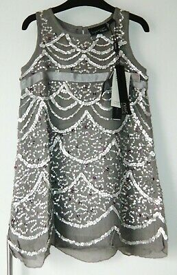 Bnwt Girls Next Signature Silver Party Dress 4 Yrs 3-4 New Christmas Sequin Top