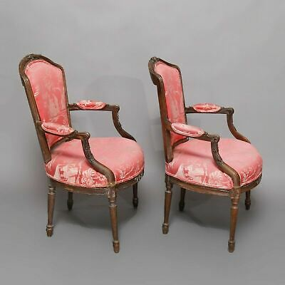 Pair Of Antique French Carved Fauteuil Armchairs