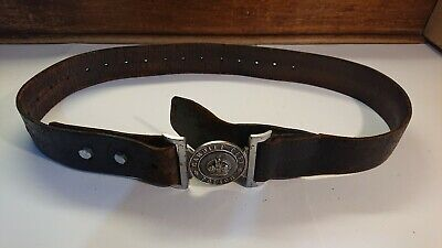 Vintage CARDIFF CITY Wales Welsh Police Officer Leather Obsolete Belt Buckle