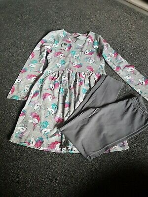2 Piece Top Dress and Leggings Tu Kids Age 10 Years New Tags Unicorns Grey