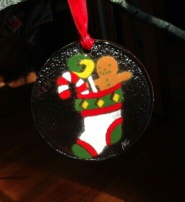 Peggy Karr - Signed | Christmas Stocking | Fused Art Glass Ornament