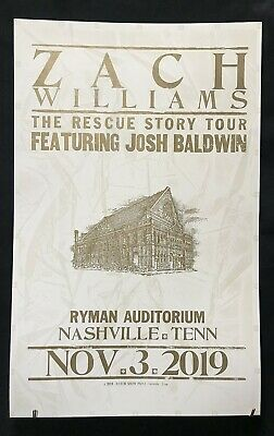 Hatch Show Print Poster Zach Williams Ryman Nashville Nov. 3, 2019 Rescue Story