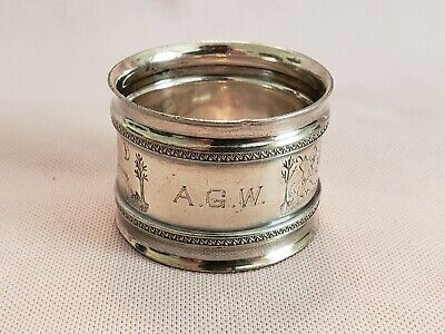 Antique Sterling Silver Napkin Ring Engraved A.G.W.