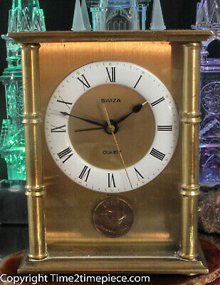 Swiza alarm carriage clock Farthing coin dial 110 x 90 x 60 Bevelled edge glass