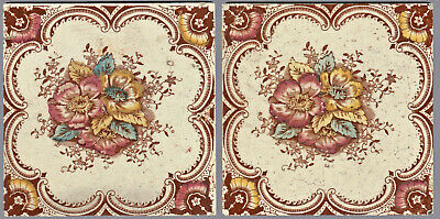 T & R Boote - c1903 -  Red & Amber Floral Design - Antique Victorian Tiles