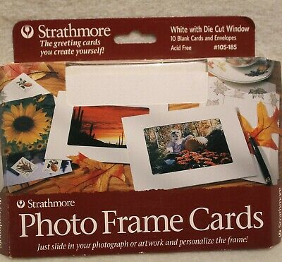 Strathmore Photo Mount Cards, #105-185, White With Die Cut Window Set Of 10