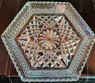 """Vintage 7.5"""" Hexagon Clear Cut Footed Glass Candy Relish Dish Trinket tray"""