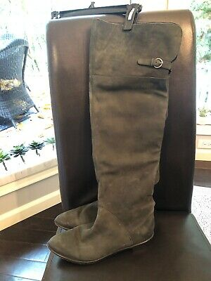 womens over the knee boots Grey Suede.size 10.
