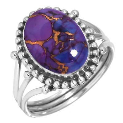925 Sterling Silver Ring Copper Purple Turquoise Handmade Jewelry Size 7 cM84754