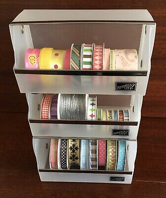 Stampin Up RIBBON ORGANIZER STORAGE Containers & 21 Rolls of Ribbon Lot