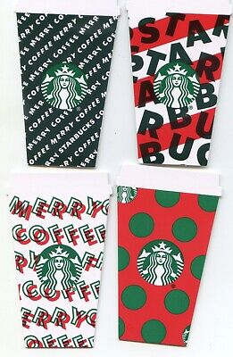 COMPLETE SET of 4 NEWEST 2019  DIFFERENT#6174 MINI CUP DIE CUT  STARBUCKS CARD