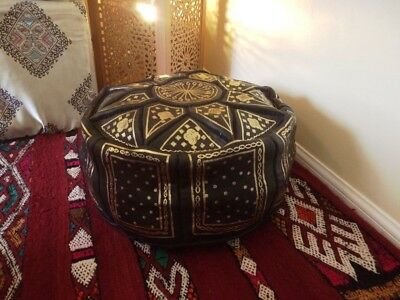 Moroccan pouffe Black Leather footstool various colours seating ottoman pouffet