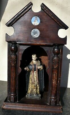 19th Antique Century  Carved Religious Santos Shrine Case