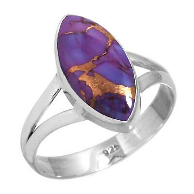 Copper Purple Turquoise 925 Sterling Silver Handmade Ring Size L 1/2 cM02460
