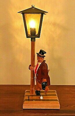 Vintage wood carved Music box Table Lamp Alpenland BLACK FOREST style Germany