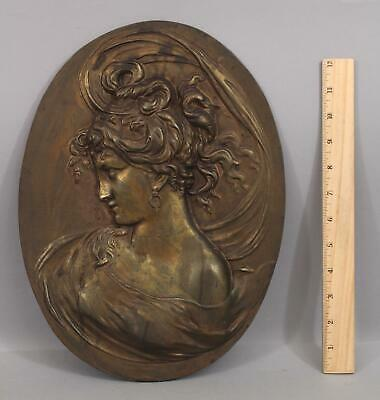 Antique Art Nouveau Woman, Hubley Bronzed Cast Iron Oval Plaque, NR