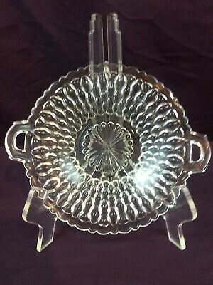 Vtg Antique Clear Cut Pressed Glass Crystal Handled Dish Candy Nut Serve Plate