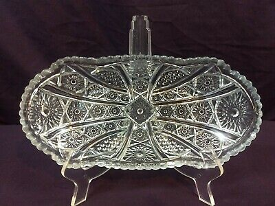 Vintage Oval Deep Cut Glass Candy Nut Relish Dish Saw Tooth Edge