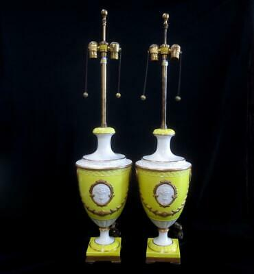 Stunning Pair of Original Marbro Vintage Porcelain Urn Table Lamps
