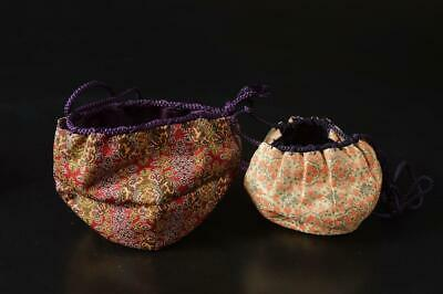 U3299: Japanese Fabric BAG Shifuku for Tea caddy 2pcs, Tea Ceremony