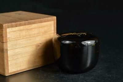 U3557: Japan Wooden Lacquerware Insect gold pattern TEA CADDY Chaire Container