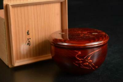 U3582:Japan Wooden Lacquer ware TEA CADDY Natsume Chaire Container w/signed box