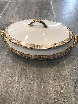 Empress Gold Accent by Homer Laughlin Medium Covered Oval Dish - Antique China