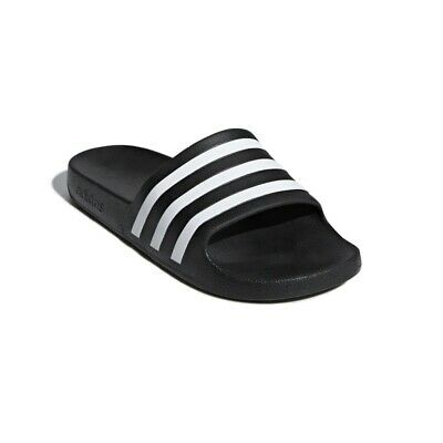 Adidas Slides - Mens Adilette Aqua - Black & White F35543 Sandals Slip On's