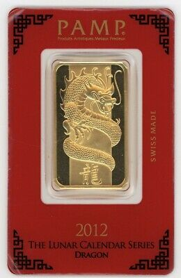 PAMP Suisse 1 oz Dragon Lunar Pure Gold Bar , sealed & numbered. from 2012 999.9