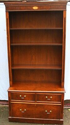 1960s Mahogany Open Bookshelves with 4 Drawers at Base and Inlay Detail.