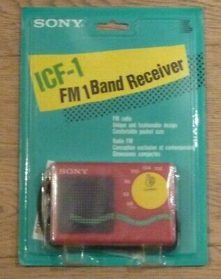 Red Radio SONY ICF-1 FM Band Receiver New in Original Packaging Vintage