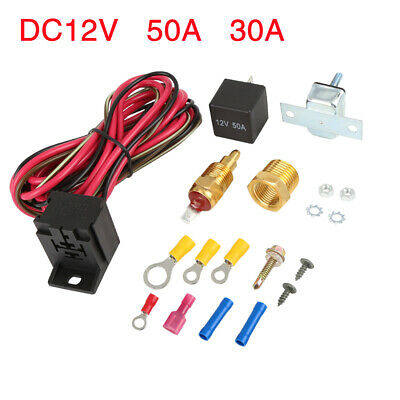"""Electric Engine Fan Thermostat Temperature Switch Relay Kit 175-185 Degree 3//8/"""""""