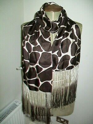 Country Casuals. Smart & Chic Chocolate & Cream Animal Design Vintage Silk Scarf
