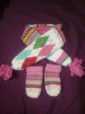 Girls Gap Monsoon Scarf Mittens 0-12 months