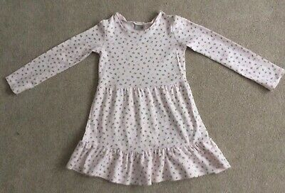 Next Girls Pink Floral Jersey Dress, Good Used Condition, Age 5