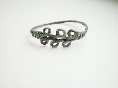 Ancient Authentic Viking Silver Female Jewelry Temporal Ring 8 - 10 century AD#