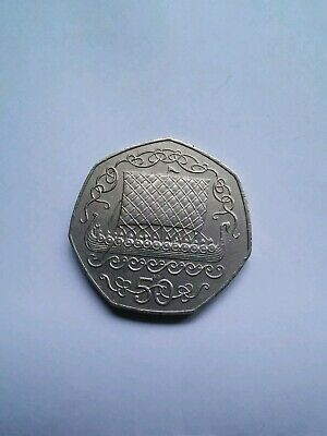 "1980 ISLE OF MAN VIKING SHIP 50p COIN - ""AB"" DIE EF- IoM MANX"