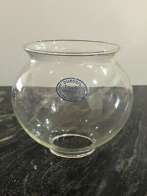 VINTAGE CLEAR  GLASS OIL GLOBE  LAMP  SHADE - Durosil Tilley Hendon