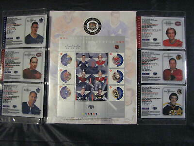 Canada Post 2002 NHL All Star Stamp Sheet and Cards x 6 - Lafleur Horton Kelly