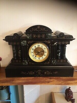 "antique marble mantle clock. 17 & 1/2"" long. 13 & 1/4"" tall. Column front."
