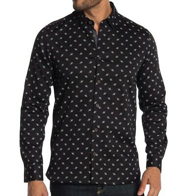 Ted Baker London Men's Long Sleeve Greenpa Printed Planet Shirt Cotton Black