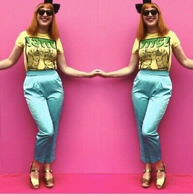 Silky 90s Jacques Vert Aqua Cigarette Trousers Turquoise High Waisted